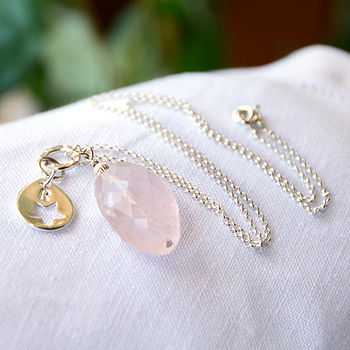 Personalised Silver & Rose Quartz Necklace