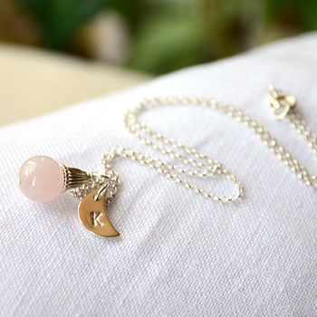 Rose Quartz necklace with Moon charm