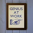 'Genius At Work' Hand Pressed Print