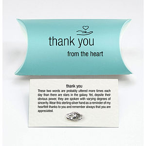 Sterling Silver Thank You Charm Pin - wedding thank you gifts
