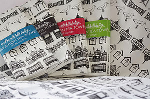 Illustrated Brighton Strip Tea Towel - kitchen accessories