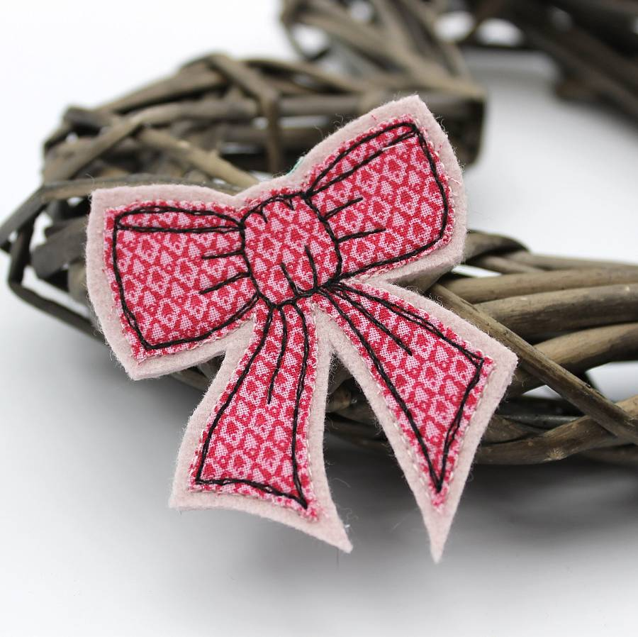 Embroidered Fabric Bow Brooch