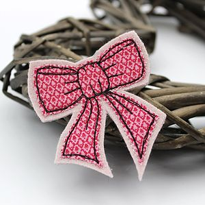 Embroidered Fabric Bow Brooch - pins & brooches