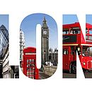 Close-up Commemorative London Photo Word Print