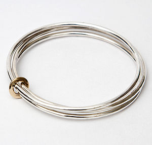 Silver And Gold Three Band Bangle - bracelets & bangles