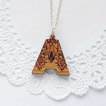 Wooden Initial Necklace