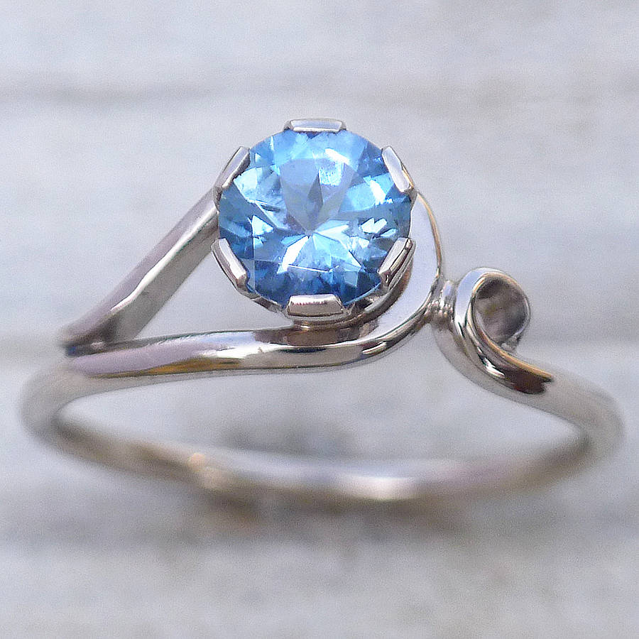 aquamarine ring in 18ct gold by lilia nash jewellery