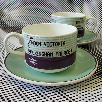SALE! British Royal Train Ticket Cup Set