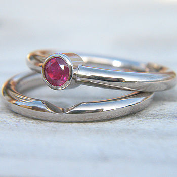 Handmade Ruby Wedding Ring Set In 18ct Gold