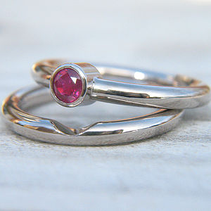 Handmade Ruby Wedding Ring Set In 18ct Gold - rings