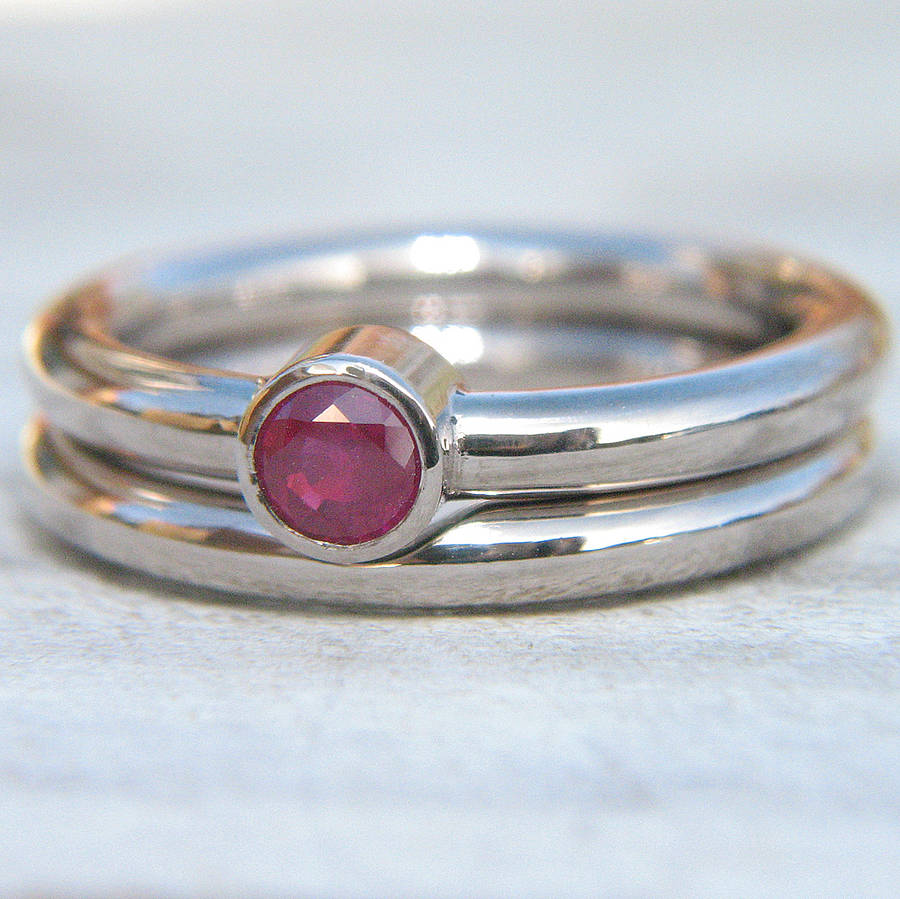 Ruby Engagement Ring Set In 18ct White Gold