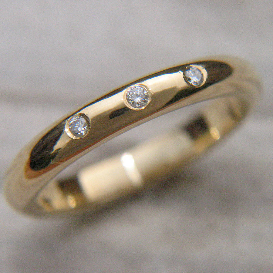 three diamond wedding ring by lilia nash jewellery
