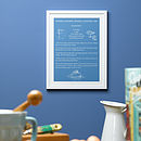 Personalised Signature Dish Recipe Print Dusty Blue