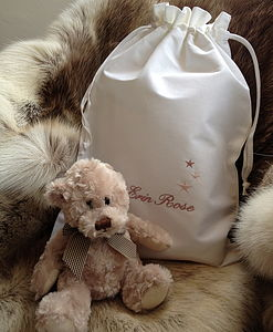 Personalised Baby Bag And Optional Teddy Bear