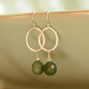 Silver and Moss Agate Earrings
