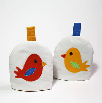 Little Bird Egg Cosy - Orange Bird and Yellow Bird