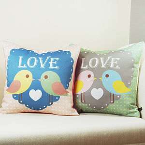 Birds In Love Cushion - bedroom