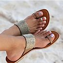 Luna Gold Beaded Toe Loop Leather Sandals