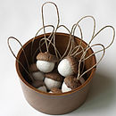 Set Of Ten Hand Felted Acorn Decorations - white