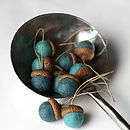 Set Of Ten Hand Felted Acorn Decorations - blue