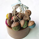 Set Of Ten Hand Felted Acorn Decorations - multi