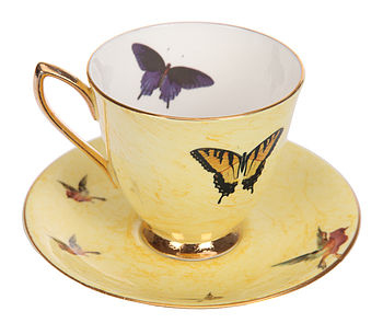 Upcycled Butterfly Design Vintage Teacup