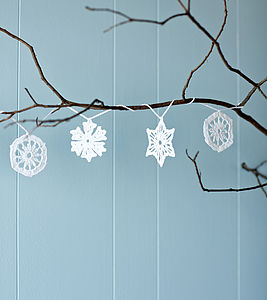 Handmade Crochet Snowflake Garland - outdoor decorations