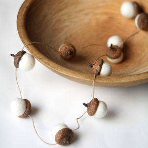 Hand Felted Acorn Garland - rustic wedding