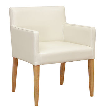Cream White Leather Carver Chair