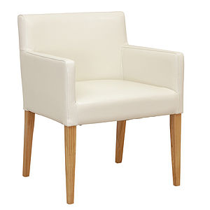 Cream White Leather Carver Chair - furniture