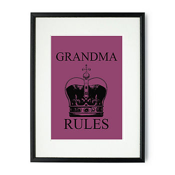 Grandma Rules Framed & Signed Print