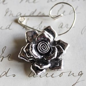 Swirl Pin With Silver Rose - women's sale