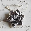 Swirl Pin With Tibetan Silver Rose