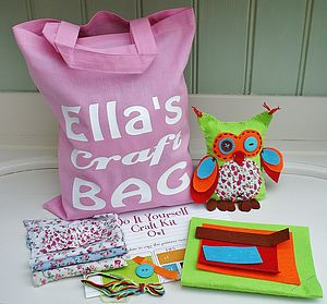 Oscar Owl Craft Kit And Personalised Bag - sewing & knitting