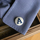 Navy on Cream Alpha Omega Cufflinks