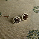 Chocolate on Beige Button Cufflinks