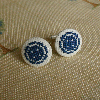 Navy on Cream Button Cufflinks