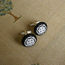 White on Black Button Cufflinks
