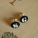 White on Black Initial Cufflinks