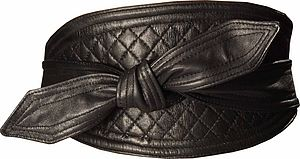 Leather Quilted Obi Belt - belts