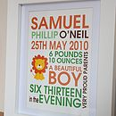 Personalised New Baby Lion Print