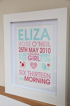 Personalised New Baby Girl Birdie Print