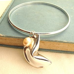 Personalised Silver Fortune Cookie Bangle