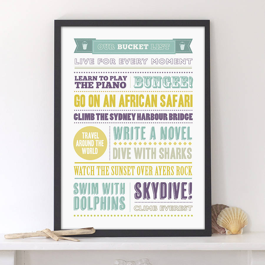 personalised bucket list print
