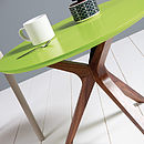 Trio Coffee Table- Lime Green and Walnut