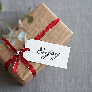 Eight Hand Stamped 'Enjoy' Gift Tags