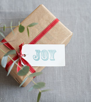 Eight Hand Stamped 'Joy' Gift Tags