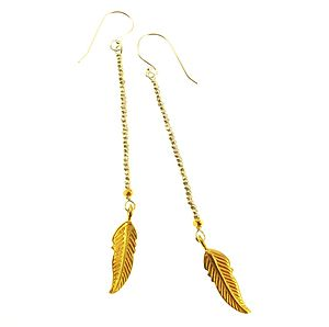 Zanzibar Feather Gold Silver Earrings