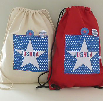 pe and swim bag blue star on red