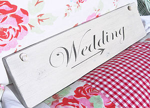 'Wedding' Vintage Style Painted Wood Sign